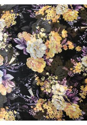 Szyfon jedwabny żółte kwiaty na brazie - 1