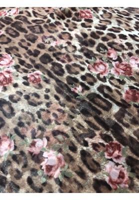 Szyfon jedwabny panterka z kwiatami - 3