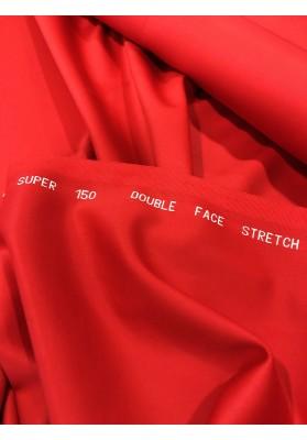 Wełna ubraniowa 150 's  double face z elastanem czerwień - 5
