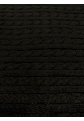 Dzianina swetrowa warkocze czarna - 1
