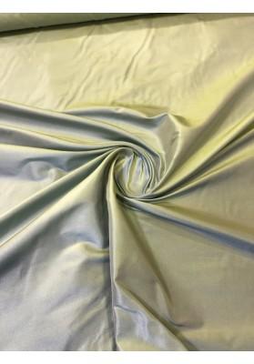 Tafta jedwabna dwuton nitka żółta z niebieską - 1