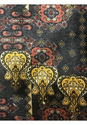 Dzianina sweterkowa wełna z angorą wzór czerwień z musztardą - 1
