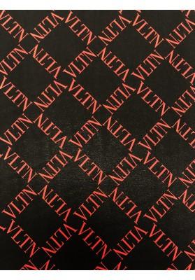 Krepa jedwabna VLT czerwień na czerni - 1