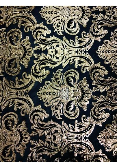 Żakard tłoczony złoty ornament na organzie dwustronny - 1