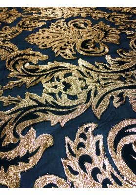 Żakard tłoczony złoty ornament na organzie dwustronny - 2