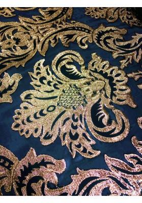 Żakard tłoczony złoty ornament na organzie dwustronny - 5