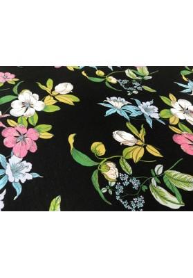 Dzianina kolorowe kwiaty na czarnym tle - 0