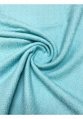 Tkanina wełniana strukturalna błękit - 1