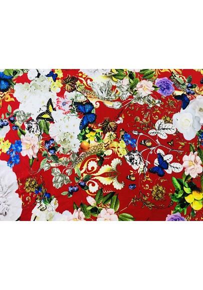 Dzianina punto RC kwiaty na czerwieni - 0