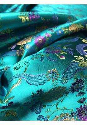 Żakard kwiaty na turkusie - 3