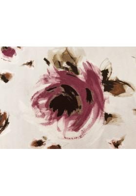 Dzianina jedwabna mazane kwiaty na różu - 0