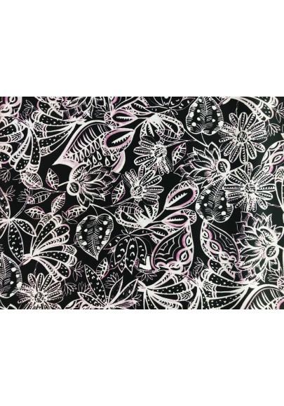 Satyna jedwabna jasne kwiaty na czerni - 1