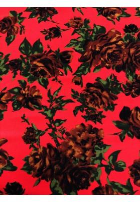 Wiskoza  brązowe kwiaty na czerwieni - 1