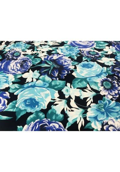 Bawełna niebieskie kwiaty na czarnym tle - 0