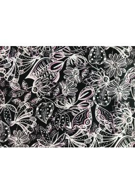 Satyna jedwabna jasne kwiaty na czerni - 3