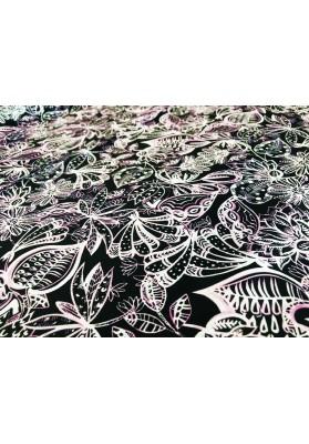 Satyna jedwabna jasne kwiaty na czerni - 4