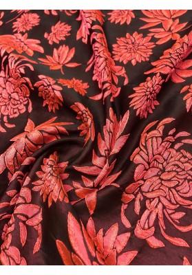 Żakard kwiaty na ciemnym tle - 4