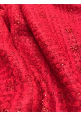 Chanelka czerwona ze metalizującą nitką - 3
