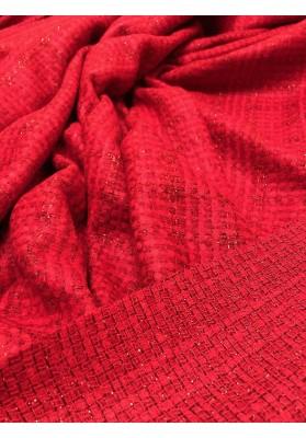 Chanelka czerwona ze metalizującą nitką - 5