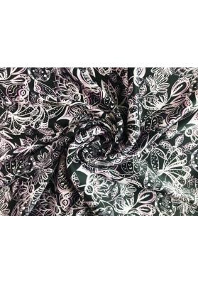 Satyna jedwabna jasne kwiaty na czerni - 6