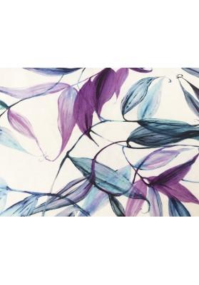 Len fiolet liście na bieli - 0