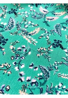 Wiskoza drobne kwiaty na jasnej zieleni - 1
