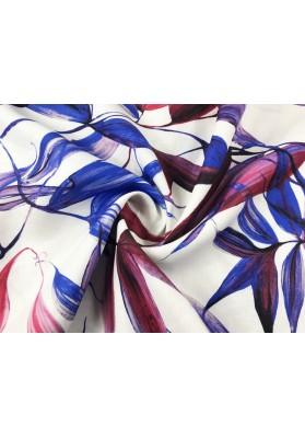 Len czerwono-niebieskie liście na bieli - 0