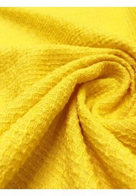 Tkanina wełniana strukturalna zółta - 3