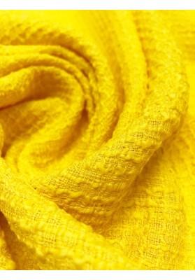 Tkanina wełniana strukturalna zółta - 4