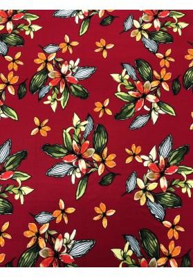 Wiskoza kwiaty na czerwieni - 1